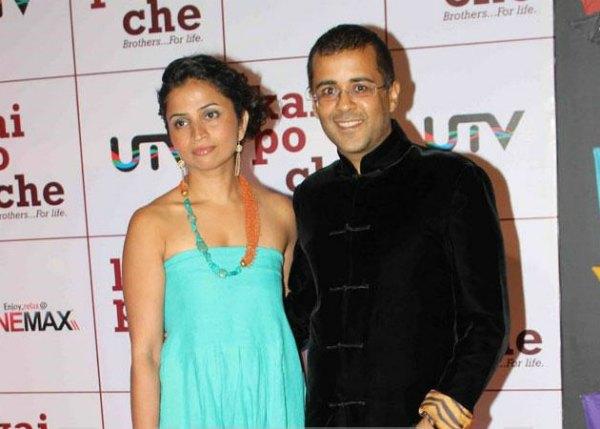 chetan-bhagat-with-wife-ananya