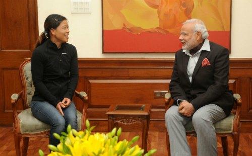 The Indian Boxer, Mary Kom calls on the Prime Minister, Shri Narendra Modi, in New Delhi on January 28, 2015.