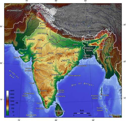 India Topography Map