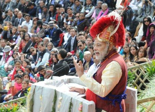 The Prime Minister, Shri Narendra Modi addressing at the Hornbill Festival, in Kohima, in Nagaland on December 01, 2014.