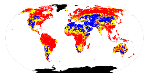 Global variation in soil pH. Red = acidic soil. Yellow = neutral soil. Blue = alkaline soil. Black = no data.
