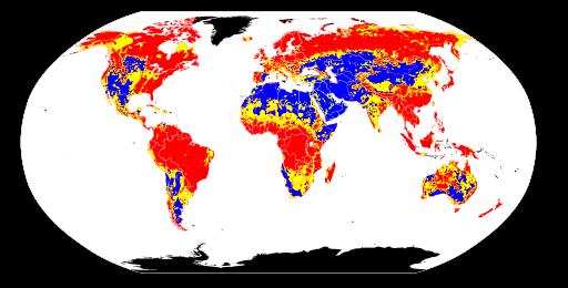 Global variation in soil pH. Red = acidic soil. Yellow = neutral soil. Blue = alkaline soil. Black = no data.