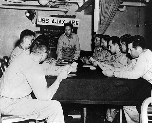 Navy officers learning Japanese language. By US Navy [Public domain], via Wikimedia Commons